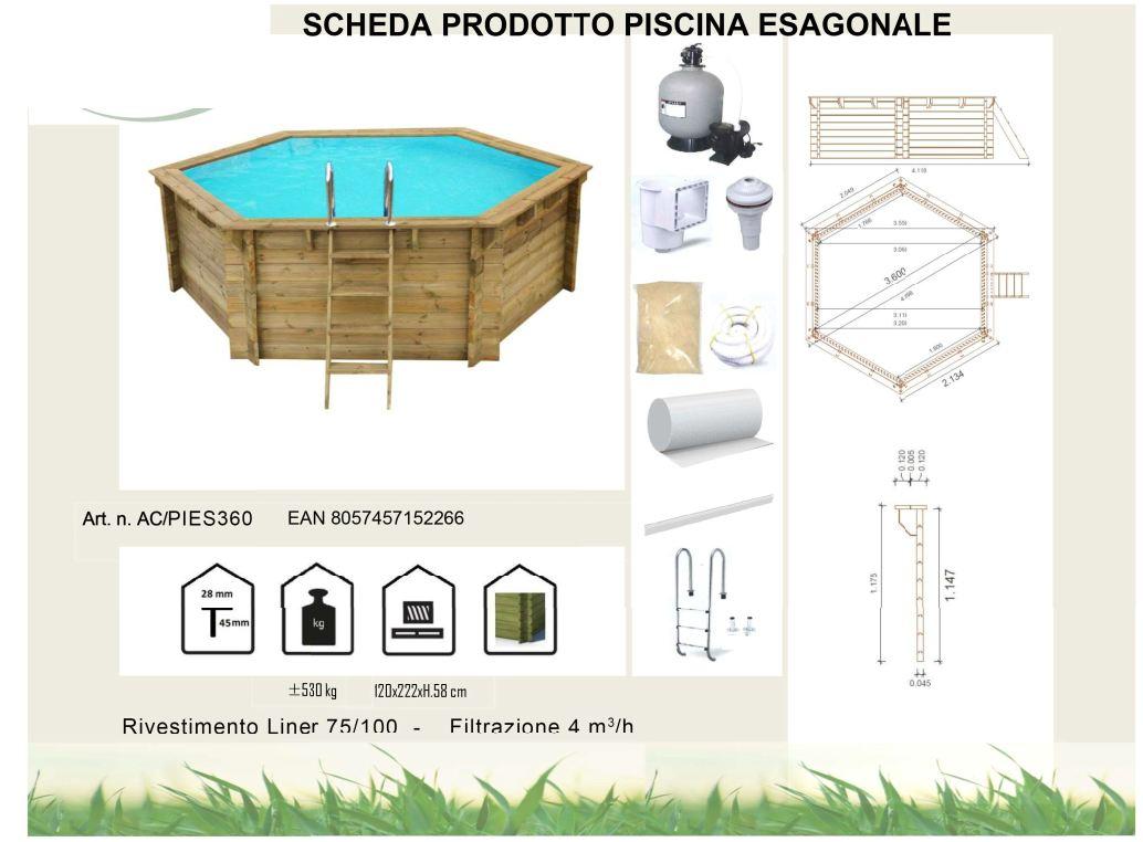composizione piscina fuoriterra in legno